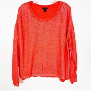 H&M Neon Orange Shaker stitch Pullover Sweater